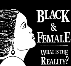 black and female the reality logo